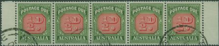 Postage Due SG D132a ½d Carmine and deep green die II strip of 5 s (AD1/9)